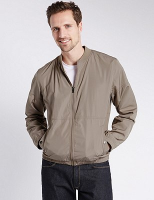 Casual Bomber Jacket with Stormwear™, NUTMEG, catlanding
