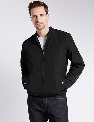 Casual Bomber Jacket with Stormwear™, BLACK, catlanding
