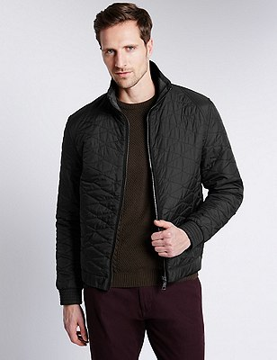 Quilted Bomber Jacket with Stormwear™, BLACK, catlanding