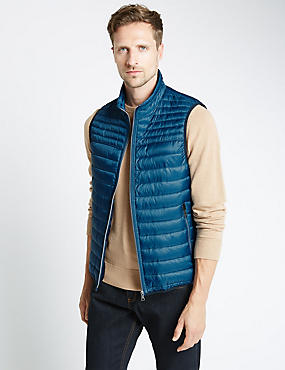 Dot Print Quilted Gilet with Stormwear™, TEAL, catlanding