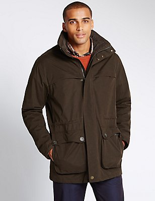 Cotton Blend Country Parka with Stormwear™, CHOCOLATE, catlanding