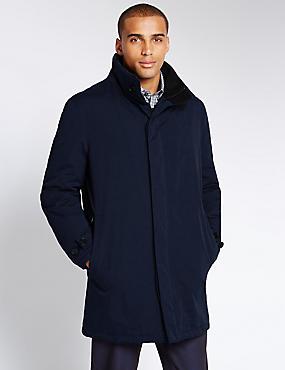 Double Collar Jacket with Stormwear™, NAVY, catlanding
