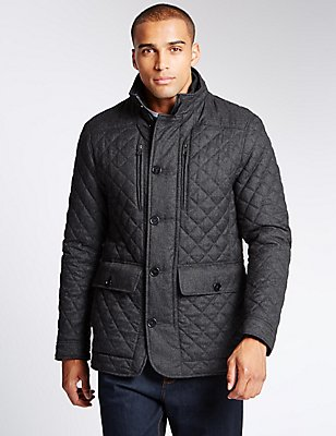 Quilted Textured Jacket with Stormwear™, GREY, catlanding
