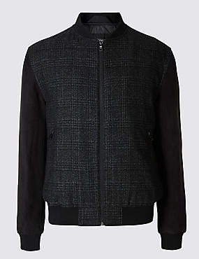 Wool Blend Tailored Fit Checked Bomber Jacket, BLACK MIX, catlanding
