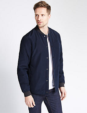 Baseball Shirt Jacket , NAVY, catlanding