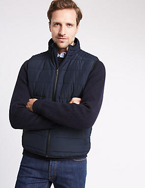 Tailored Fit Quilted Gilet with Stormwear™, NAVY, catlanding