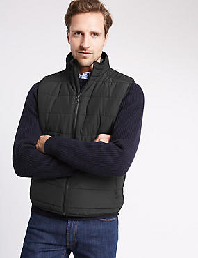 Tailored Fit Quilted Gilet with Stormwear™, BLACK, catlanding
