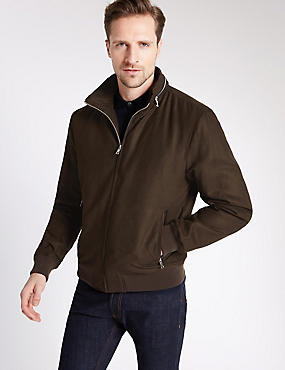 Wadded Bomber Jacket with Concealed Hood, CHOCOLATE, catlanding