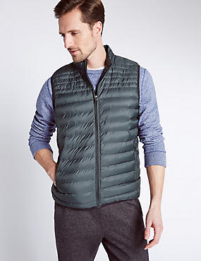 Printed Gilet with Stormwear™, BLACK/GREY, catlanding