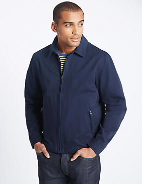 Pure Cotton Bomber Jacket with Stormwear™, NAVY, catlanding