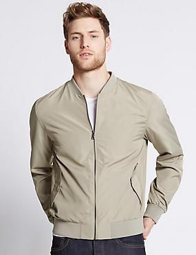 Baseball Bomber Jacket with Stormwear™, STONE, catlanding