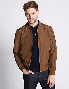 Baseball Bomber Jacket with Stormwear™, TOBACCO, catlanding