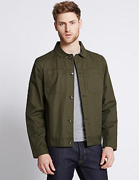 Pure Cotton Jacket, KHAKI, catlanding
