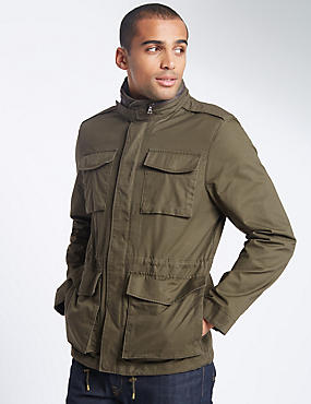 Pure Cotton 4 Pocket Jacket with Stormwear™, KHAKI, catlanding