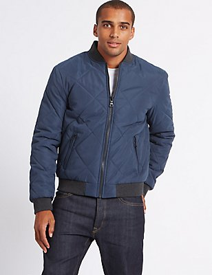 Baseball Bomber Jacket with Stormwear™, NAVY, catlanding