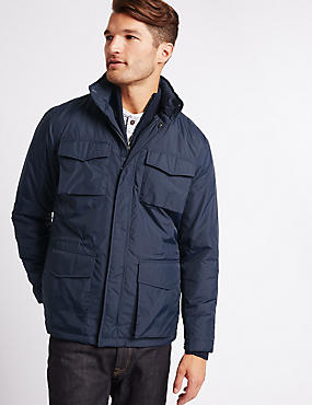 Fleece Lined Jacket with Stormwear™, NAVY, catlanding