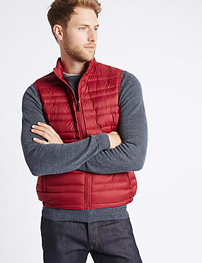 Down & Feather Gilet with Stormwear™, RED, catlanding