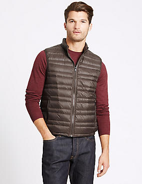 Down & Feather Gilet with Stormwear™, CHOCOLATE, catlanding