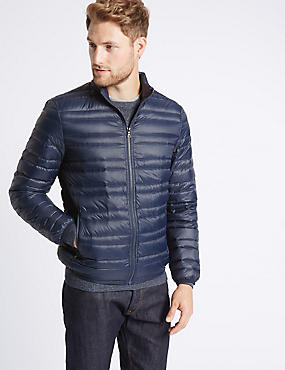 Down & Feather Jacket with Stormwear™, MIDNIGHT NAVY, catlanding