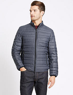 Down & Feather Jacket with Stormwear™, GREY, catlanding