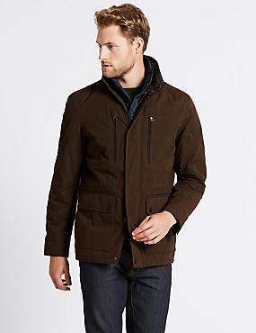 Cotton Blend Jacket with Stormwear™, CHOCOLATE, catlanding