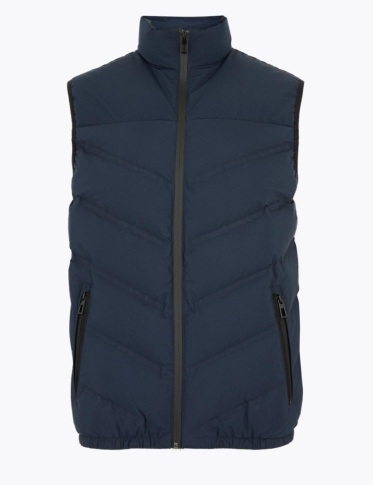 Жилет из пуха и пера с отделкой Stormwear ™ M&S Collection. Цвет: темно-синий