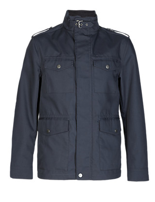 Slim Fit Military Jacket with Epaulettes Clothing