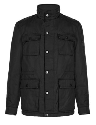 Lightly Padded 4 Pockets Leather Trim Military Jacket with Thinsulate™ Clothing