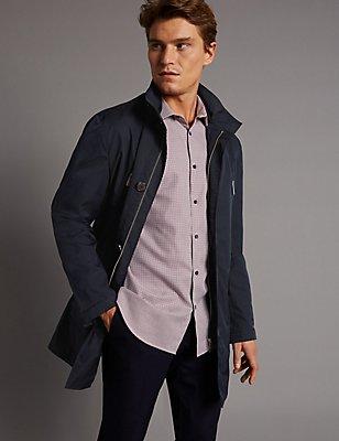 Funnel Neck Mac with Stormwear™, NAVY, catlanding