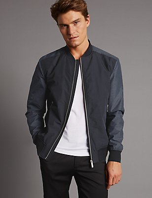 Contrast Sleeve Bomber Jacket with Stormwear™, BLACK/GREY, catlanding