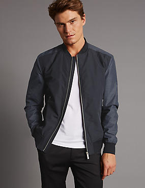 Contrast Sleeve Bomber Jacket with Stormwear™, BLACK/GREY, catlanding