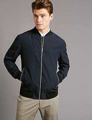 Seersucker Bomber Jacket with Stormwear™, NAVY, catlanding