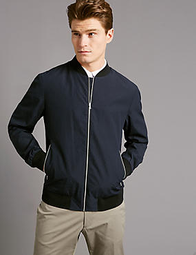 Seersucker Bomber Jacket with Stormwear™, NAVY, catlanding