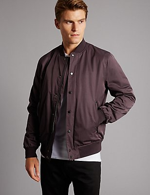 Cotton Blend Bomber Jacket with Stormwear™, BLACKCURRANT, catlanding