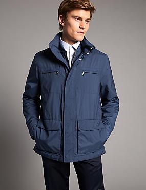 Double Collar 4 Pocket Jacket, BLUE MIX, catlanding
