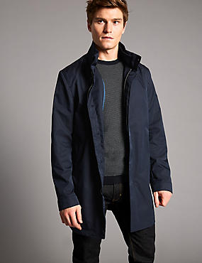 Funnel Neck Mac with Stormwear™, NAVY, catlanding