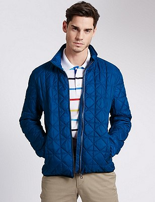 Tailored Fit Quilted Bomber Jacket, BRIGHT BLUE, catlanding