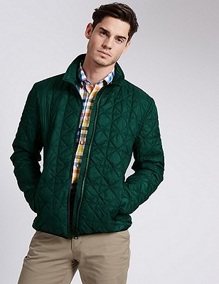 Tailored Fit Quilted Bomber Jacket, GREEN, catlanding