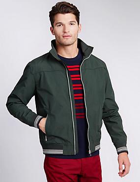 Windproof Bomber Jacket with Stormwear™, DARK GREEN, catlanding