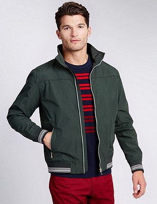 Windproof Bomber Jacket with Stormwear™, DARK GREEN, catlanding