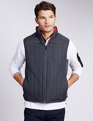 Quilted Reversible Gilet with Stormwear™ , NAVY/RED, catlanding