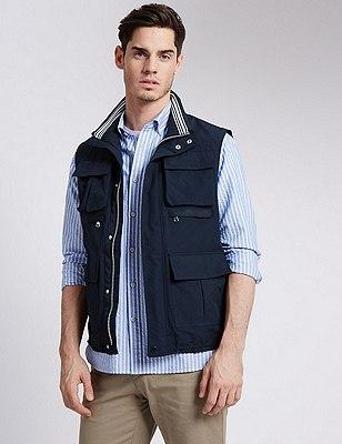 Gilet with Stormwear™, NAVY, catlanding
