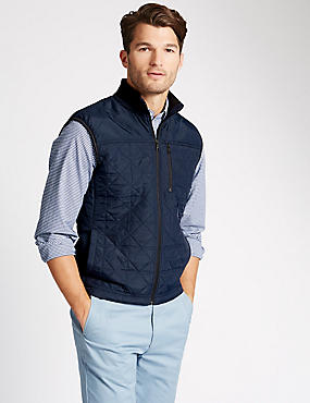 Thinsulate™ Tailored Fit Quilted Gilet with Stormwear™, NAVY, catlanding