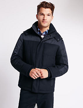Wool Blend Quilted Jacket with Stormwear™, NAVY, catlanding