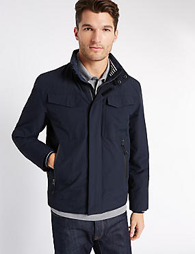 Fleece Bomber Jacket with Stormwear™, DARK NAVY, catlanding