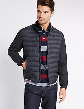 Quilted Bomber Jacket with Stormwear™, NAVY, catlanding