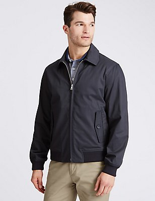 Cotton Rich Harrington Jacket with Stormwear™, NAVY MIX, catlanding