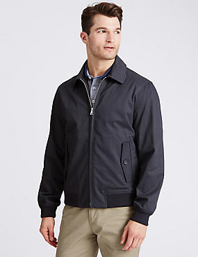 Cotton Rich Bomber Jacket with Stormwear™, NAVY MIX, catlanding