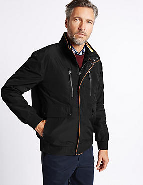 Bomber Jacket with Stormwear™, BLACK, catlanding