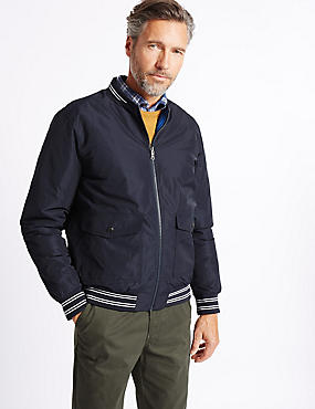 Reversible Bomber Jacket with Stormwear™, NAVY, catlanding